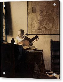 Woman With A Lute Acrylic Print by Jan Vermeer