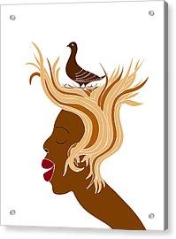 Woman With Bird Acrylic Print by Frank Tschakert