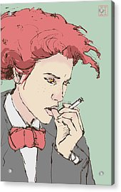 Woman With Cigarette Acrylic Print by H James Hoff
