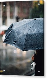 Woman With Umbrella In The Rain Acrylic Print by Aldona Pivoriene