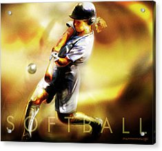 Women In Sports - Softball Acrylic Print by Mike Massengale