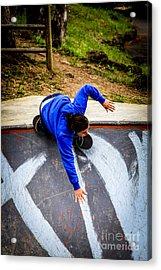 Acrylic Print featuring the photograph Women Skateboarders  by Carl Warren