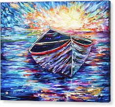 Wooden Boat At Sunrise - 2 Acrylic Print by OLenaArt Lena Owens