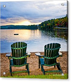 Wooden Chairs At Sunset On Beach Acrylic Print by Elena Elisseeva