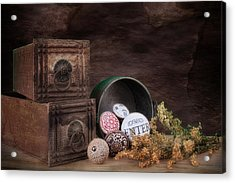 Wooden Drawers And Knobs Still Life Acrylic Print by Tom Mc Nemar