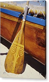 Wooden Paddle And Canoe Acrylic Print by Joss - Printscapes