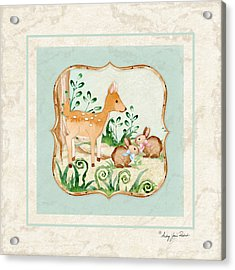 Woodland Fairy Tale - Deer Fawn Baby Bunny Rabbits In Forest Acrylic Print by Audrey Jeanne Roberts