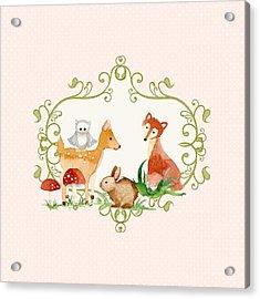 Woodland Fairytale - Animals Deer Owl Fox Bunny N Mushrooms Acrylic Print by Audrey Jeanne Roberts