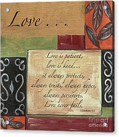 Words To Live By Love Acrylic Print by Debbie DeWitt