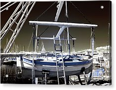 Working On The Boat Acrylic Print by John Rizzuto