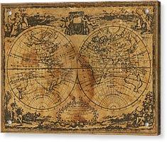 World Map 1788 Acrylic Print by Kitty Ellis