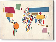 World Map Abstract Acrylic Print by Michael Tompsett