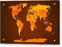 World Map Fall Colours Acrylic Print by Michael Tompsett