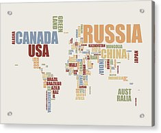 World Map In Words 2 Acrylic Print by Michael Tompsett