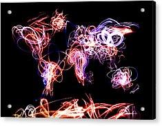 World Map Light Writing Acrylic Print by Michael Tompsett