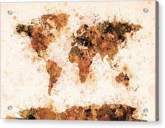 World Map Paint Splashes Bronze Acrylic Print by Michael Tompsett