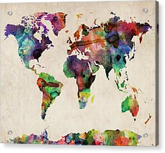World Map Watercolor 16 X 20 Acrylic Print by Michael Tompsett