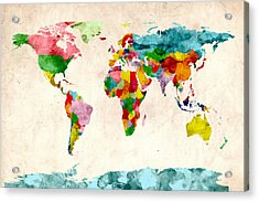 World Map Watercolors Acrylic Print by Michael Tompsett