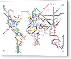 World Metro Tube Map Acrylic Print by Michael Tompsett