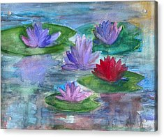 World Of Water Lilies Acrylic Print by Claudia Smaletz
