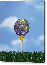 World Teed Up Acrylic Print by Gerard Fritz