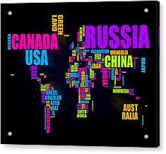 World Text Map 16x20 Acrylic Print by Michael Tompsett