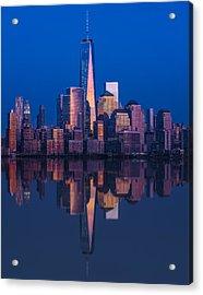 World Trade Center Reflections Acrylic Print by Susan Candelario