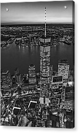 World Trade Center Wtc From High Above Bw Acrylic Print by Susan Candelario