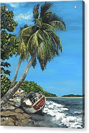 Wrecked In Paradise Acrylic Print by Colleen Banfe