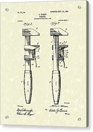 Wrench Wilson 1904 Patent Art Acrylic Print by Prior Art Design