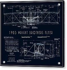 Wright Bros Flyer Aeroplane Blueprint  1903 Acrylic Print by Daniel Hagerman