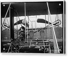Wright Brothers Close Up View Of Airplane Including The Pilot And Passenger Seats Acrylic Print by R Muirhead Art