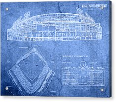 Wrigley Field Chicago Illinois Baseball Stadium Blueprints Acrylic Print by Design Turnpike