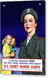 Ww2 Us Cadet Nurse Corps Acrylic Print by War Is Hell Store