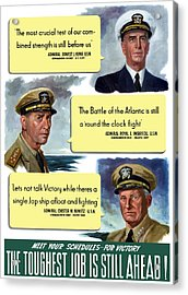 Ww2 Us Navy Admirals Acrylic Print by War Is Hell Store