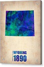 Wyoming Watercolor Map Acrylic Print by Naxart Studio