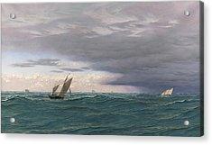 Yachts In A Seaway, Mediterranean, 1871 Acrylic Print by John Brett
