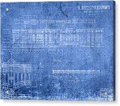 Yankee Stadium New York City Blueprints Acrylic Print by Design Turnpike