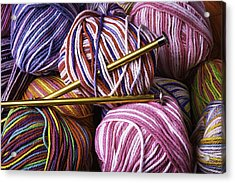 Yarn And Knitting Needles Acrylic Print by Garry Gay