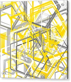 Yellow And Gray Geometric Shapes Art Acrylic Print by Lourry Legarde