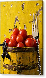 Yellow Bucket With Tomatoes Acrylic Print by Garry Gay