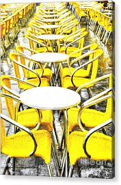 Yellow Chairs In Venice # 2 Acrylic Print by Mel Steinhauer