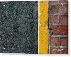 Yellow Curb Acrylic Print by Dan Holm