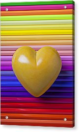 Yellow Heart On Row Of Colored Pencils Acrylic Print by Garry Gay