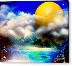 Yellow Moon 4682 E Acrylic Print by Greg Moores
