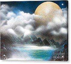 Yellow Moon Acrylic Print by Greg Moores