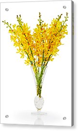Yellow Orchid In Crystal Vase Acrylic Print by Atiketta Sangasaeng