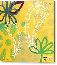 Yellow Paisley Garden Acrylic Print by Linda Woods