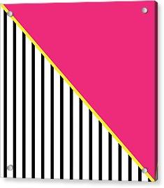 Yellow Pink And Black Geometric 2 Acrylic Print by Linda Woods