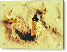 Yellow Rocket On Planetoid Exploration Acrylic Print by Jorgo Photography - Wall Art Gallery